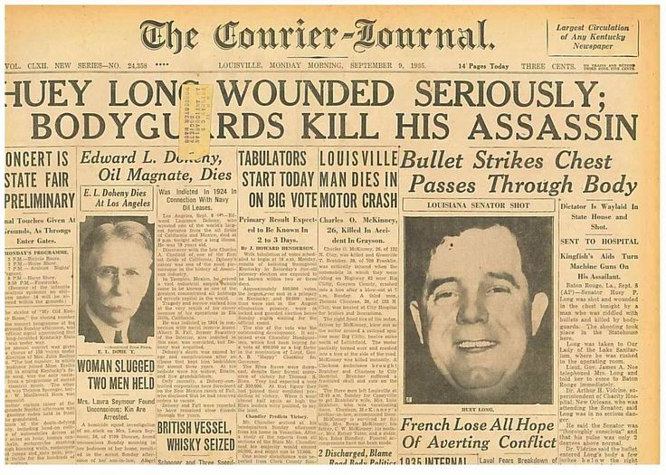 Senator Huey Long Wounded Seriously Original September 9th 1935 2206105WR