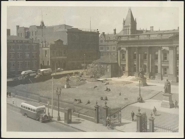 North side of the forecourt during construction of the lawn of the State Library of Victoria in March 1939.A♥W