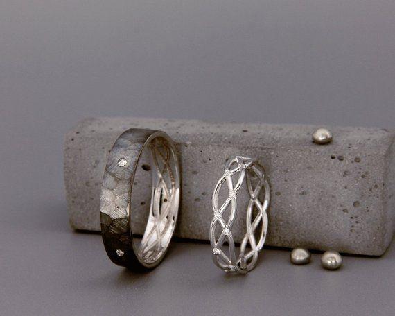 ✿ DESCRIPTION Handmade solid 14k white gold bands set with diamonds. Wedding b…