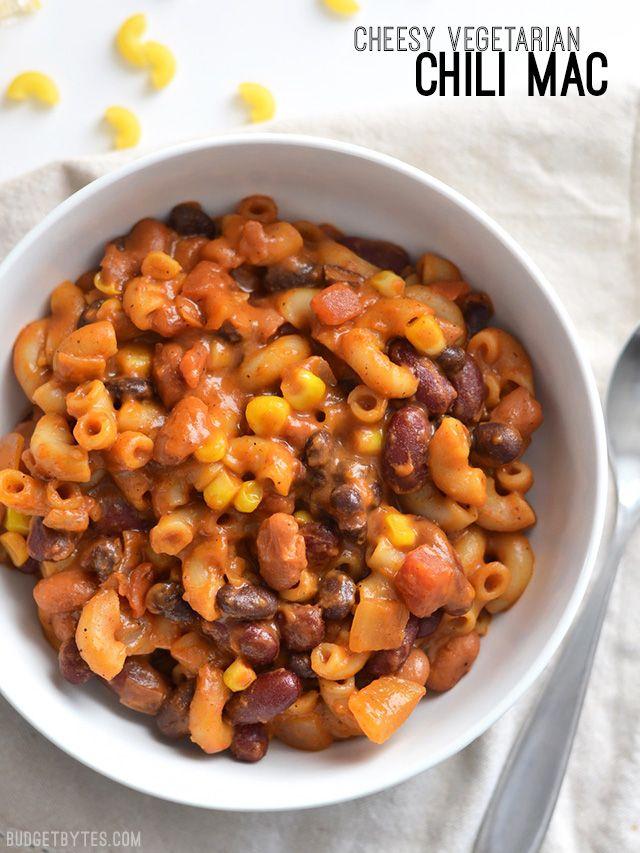 Cheesy Vegetarian Chili Mac - BudgetBytes.com