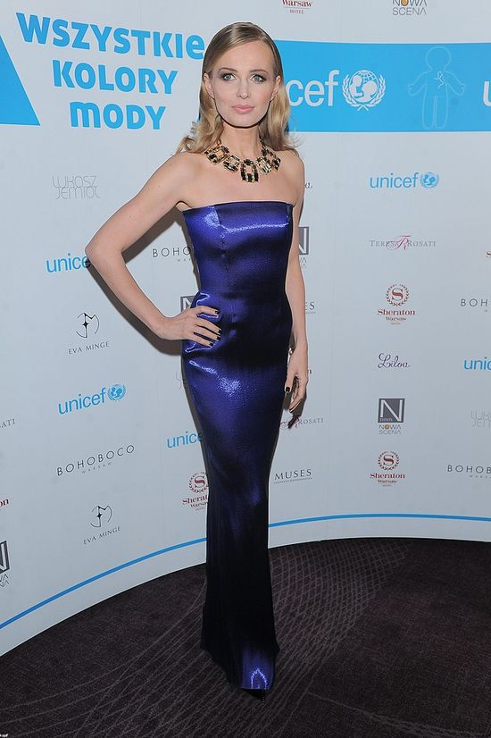 Agnieszka Cegielska wearing Bohoboco evening dress and crystal necklace by Swarovski