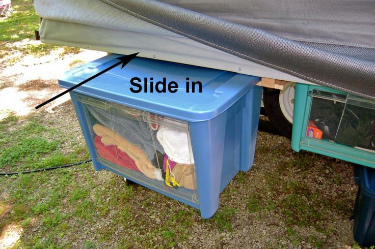 Under bed hanging storage bins tent trailer pop up for Camper storage