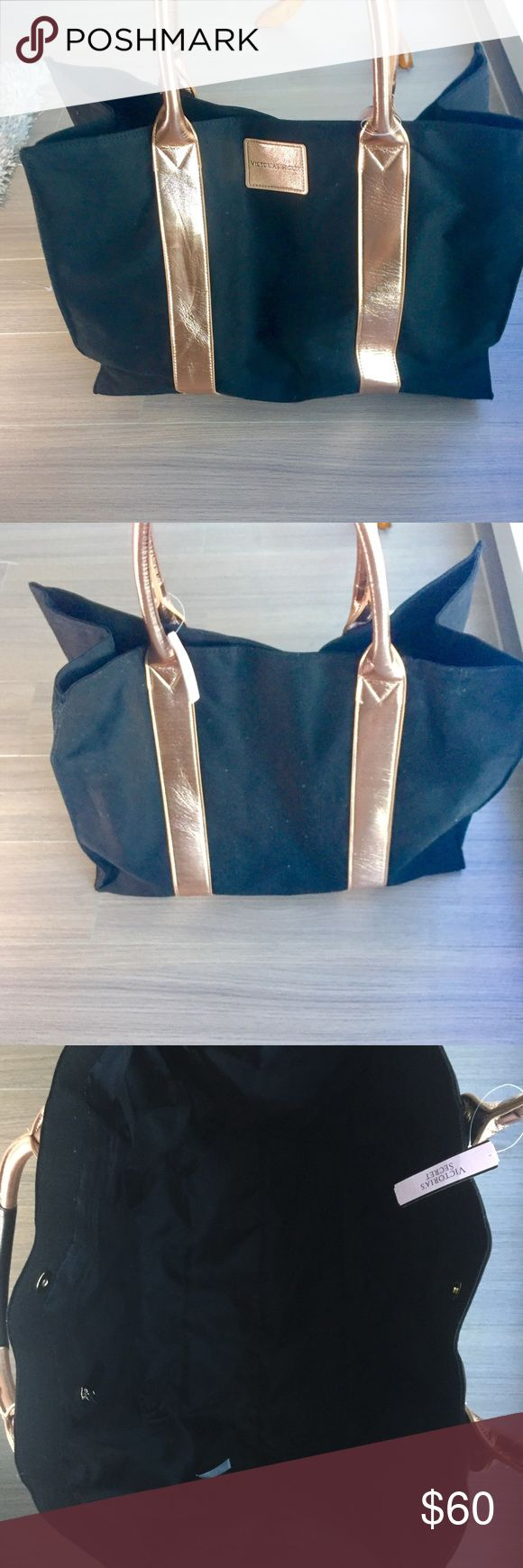 "Victoria's Secret Black & Rose Gold Tote Bag NWT Victoria's Secret Black & Rose Gold Tote Bag - NWT - large tote bag - inside one zipper pocket - 100% cotton canvas tote - black and rose gold - measures approx. 19.5"" x 14.5"" x 8"" - limited edition - bundle & save! Victoria's Secret Bags Totes"