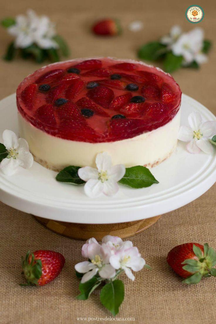 Tarta de chocolate blanco y fresas sin horno. No bake Strawberry and White Chocolate Tart.