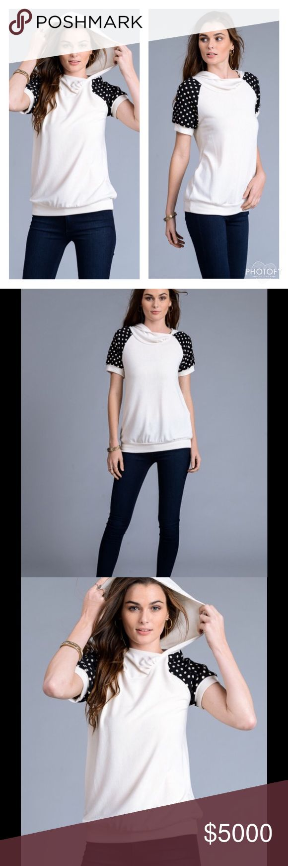 ⚡️SALE⚡️IVORY & BLACK HOODIE TOP WITH POLKA DOTS Chic & Comfy Polka Dot Top Hoodie  ❤Ivory with Polka Dots on Sleeves ❤Short Sleeves ❤Super Comfortable  ❤Hoodie ❤How Cute is this?  ❤Sizes S, M, L ❤Polyester/Rayon/Spandex  NO TRADES Peach Couture Tops
