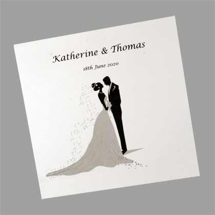 Bride and Groom Silhouette Square Folding  Wedding Invitation - Bride and Grooms name and wedding date is printed on the front. www.kardella.com
