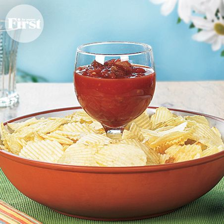 Easy Way to Serve Chips & Dip - place a wine glass in a bowl to make a dip and chip set.