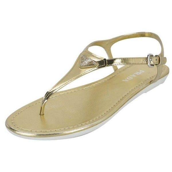 Pre-Owned Prada Triangle Gold Patent Thong Sandal Logo Sz 41.5 11.5... ($370) ❤ liked on Polyvore featuring shoes, sandals, flip flops, flat shoes, gold flip flops, gold shoes, thong sandals and metallic gold sandals