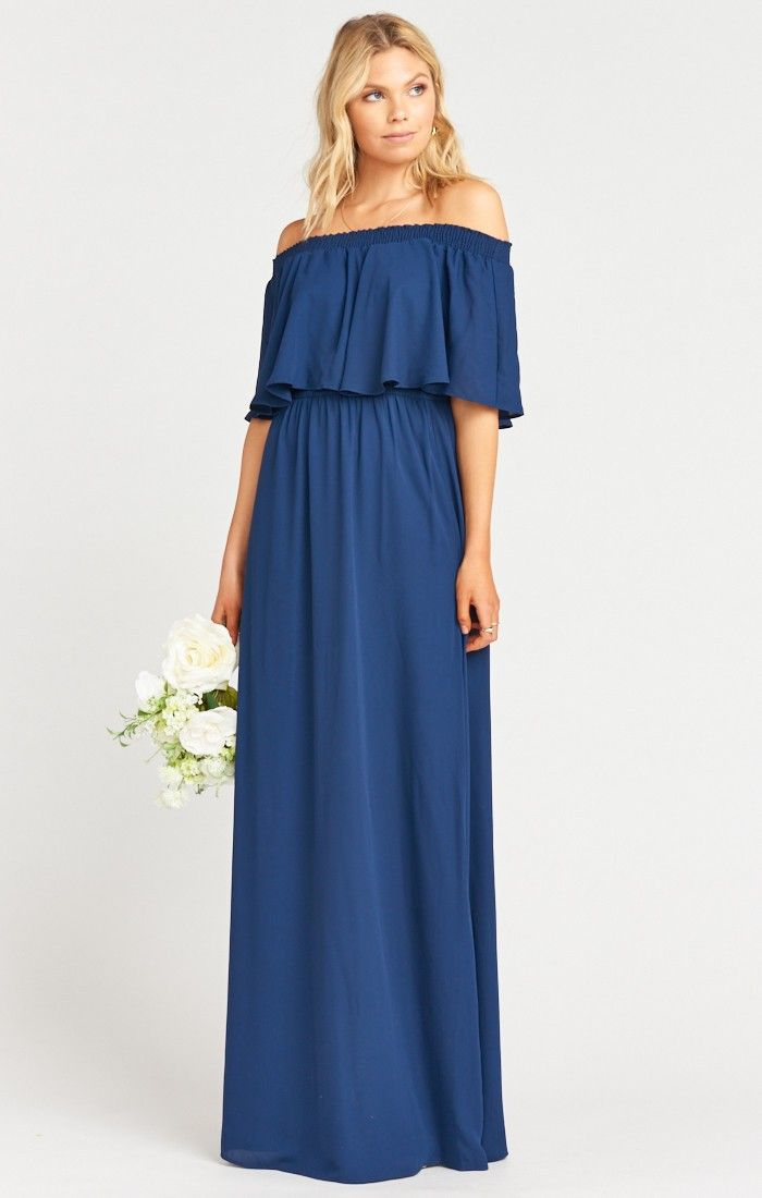 Off The Shoulder Style Navy Blue Dresses For Bridesmaids And Weddings Commissionlink Bluedresses Bohodress Brid Dresses Maxi Dress Blue Bridesmaid Dresses