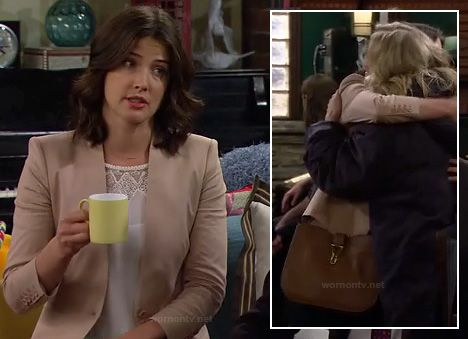 Robin's beige blazer, white lace top and tan purse on How I Met Your Mother.  Outfit details: http://wornontv.net/14601/