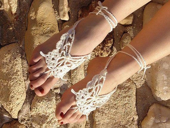 All'uncinetto sandali a piedi nudi damigella d'onore di Lasunka