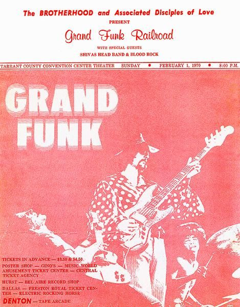 Grand Funk Railroad - Tarrant County Convention Center - 1970 - Concert Poster