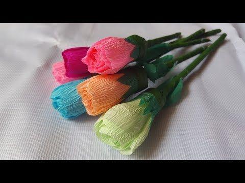 Cara Membuat Bunga Mawar Kuncup Dari Kertas Krep Youtube Mawar Hadiah Buatan Tangan Bunga
