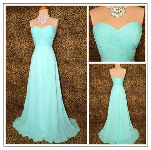Tailoring Time: 17-20 days   Shipping Time: 7-10 days    Occasion:Prom, Formal   Dress Length: Full-Length   Fabric: Chiffon   Shown Color: Blue   Neckline: Sweetheart   Waistline: Natural   Sleeve length: Sleeveless   Hemline/train: Sweep    Note:   All the dresses are not in stock, Whether choo...