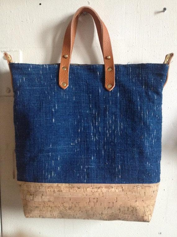 fluxproductions Escape tote - hand-woven indigo linen ...