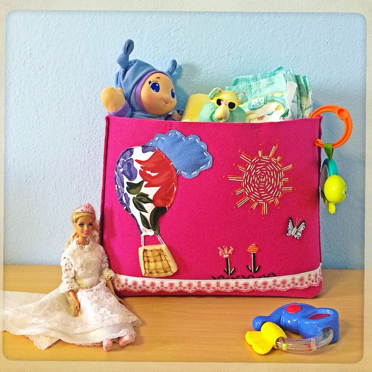 Handmade one-of-a-kind Toybag by eugenie. Customised with your baby's name,roomy for her diapers or toys