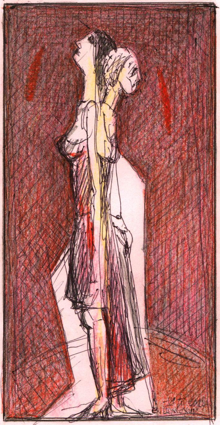 """Victor Shmokhin. """"Молодость и старость"""" 2012г. Бумага /шариковая ручка, цветной карандаш. 13,3х6,6( №4,054)"""