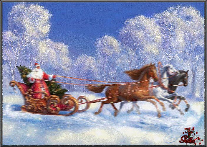 Красивая открытка Новый год в упряжке лошадей мчится С наступающим Новым годом скачать бесплатно анимационные блестящие картинки и открытки для поздравления