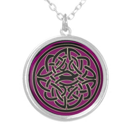 Dark Pink Stone With Black and Gold Celtic Knot Necklace