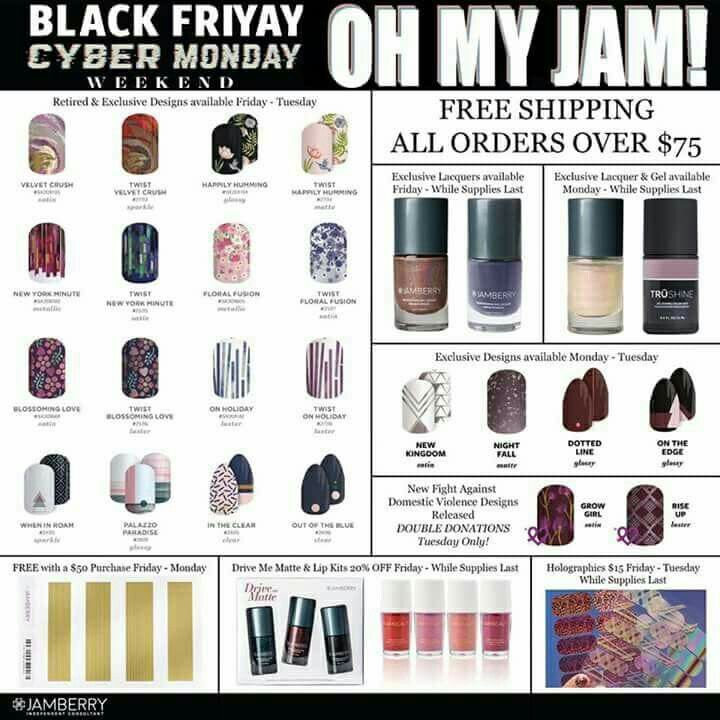 Take advantage of Jamberry's Black Friday/Cyber Monday Exclusives and free shipping on orders over $75! DazzlingDarlene.Jamberry.com