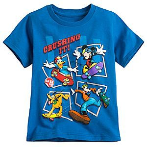 Mickey Mouse and Friends Tee for Boys | Disney Store They'll be crushing it with skateboarding style in this vivid color all-cotton tee spotlighting Mickey and the gang on wheels.