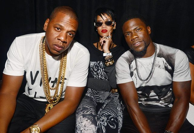 Jay Z with Rihanna and Kevin Hart in Miami