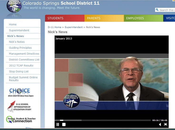 Nick Gledich, Superintendent of Colorado Springs School District 11, uses videos frequently to reach parents and let them know about the great things happening in his school district. He's got a HUGE list of videos to watch; everything from what happened at the latest board meeting to how many pounds of food schools collected during the holidays. Superintendent Gledich knows how to reach parents with the power of video!