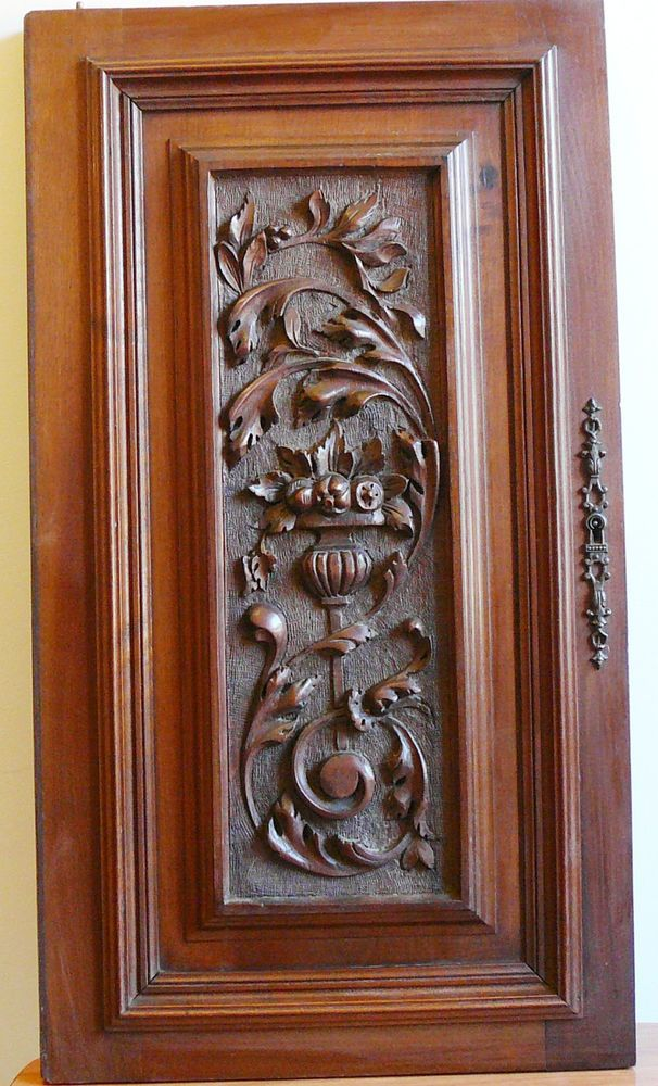 antique FRENCH wood door panel  carved renaissance walnut