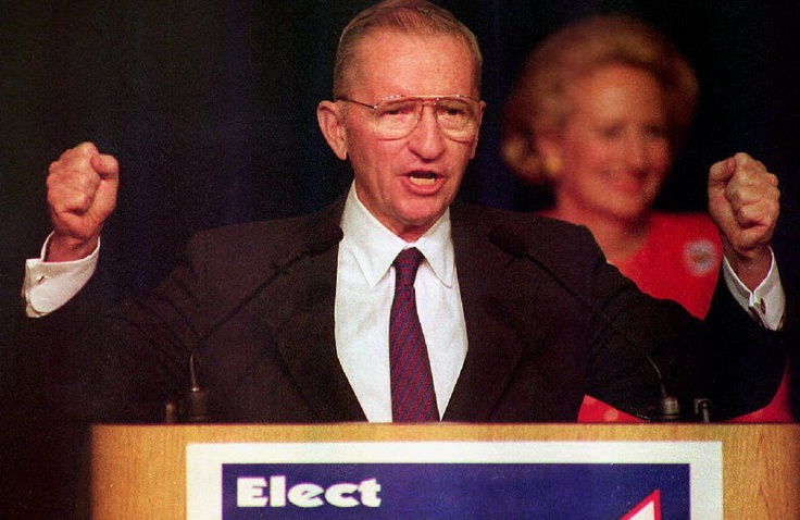 1992 -- Ross Perot, the independent presidential candidate making his concession speech after democrat Bill Clinton won the presidential election.