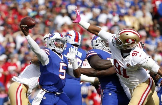 49ers vs. Bills:     October 16, 2016  -  45-16, Bills  -    Oct 16, 2016; Orchard Park, NY, USA;  San Francisco 49ers defensive end Arik Armstead (91) tries to block a pass by Buffalo Bills quarterback Tyrod Taylor (5) during the first half at New Era Field. Mandatory Credit: Timothy T. Ludwig-USA TODAY Sports