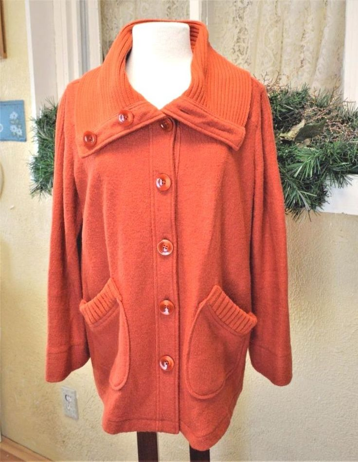 Laura Ashley 1X Plus Sweater Coat Orange Boiled Wool Blend Large Buttons Collar #LauraAshley #Sweatercoat #CasualCasualDressy