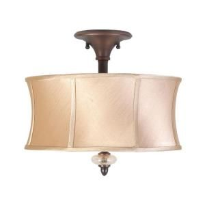 World Imports Chambord Collection 3-Light Semi-Flush Mount Weathered Copper Ceiling Fixture-WI857356 at The Home Depot