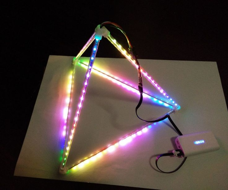 Use ultra thin digital LED strip and acrylic tube to build a LED pyramid and control it with computer with the blinkytape controller