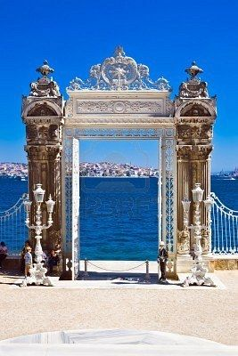 Gate on to the Bosphorus, Dolmabahce Palace, Istanbul, Turkey