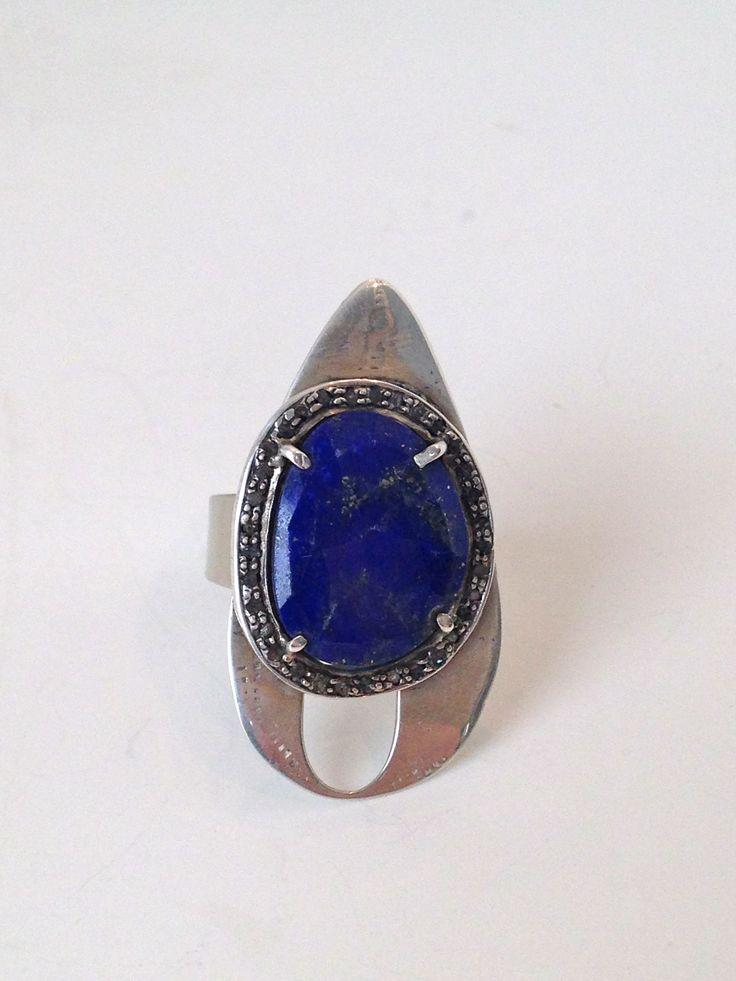 Blue Lapis Gemstone with Diamond Bezel on Silver Band