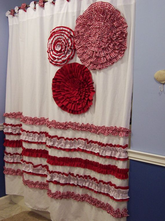 diy fabric flower on shower curtain | Shower Curtain Custom Made Ruffles and Flowers Designer Fabric Red ...