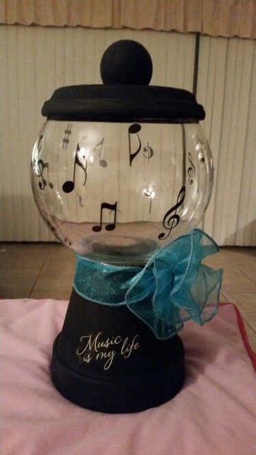 DIY candy jar made out of a Terra cotta pot and glass bowl