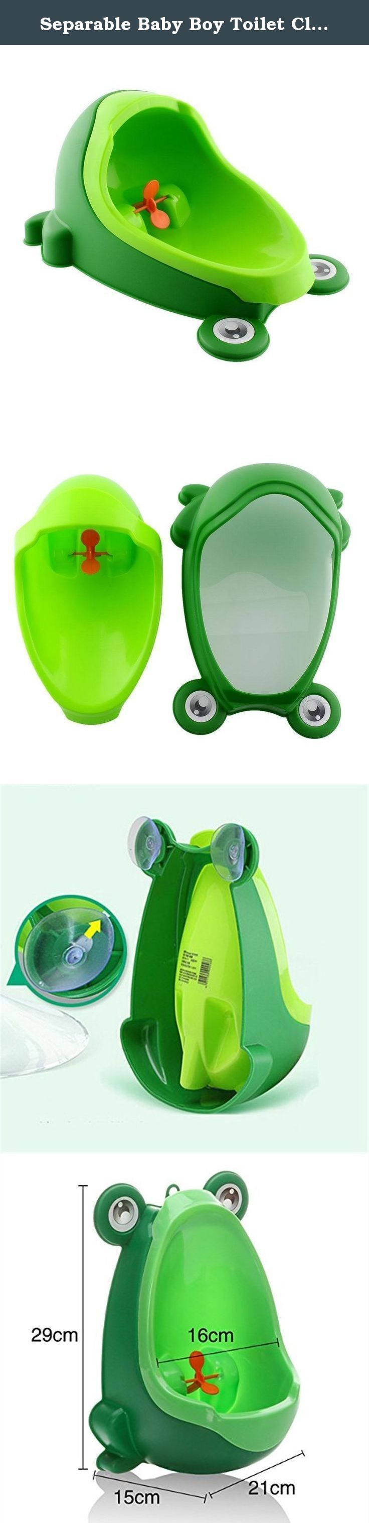 Separable Baby Boy Toilet Closet Suspensible Frog Shape Boys Standing Urinals Pee Baby Boy Portable Potty For Kids Infant Penico. About the Product Toilet Training for Boys between the Ages from 1 to10 years Adjustable Height - Removable Bowl Insert Easy to Clean and Hygienic item - 1000ml high capacity removable urinal Super Suction Cup - Sticks to Tiles and Glass - Firm and Reliable. Size: 8.3 x 6.7 x 11.8(LxWxH)inch Material: PP (Polypropylene) Product Description Color: Green Why you...