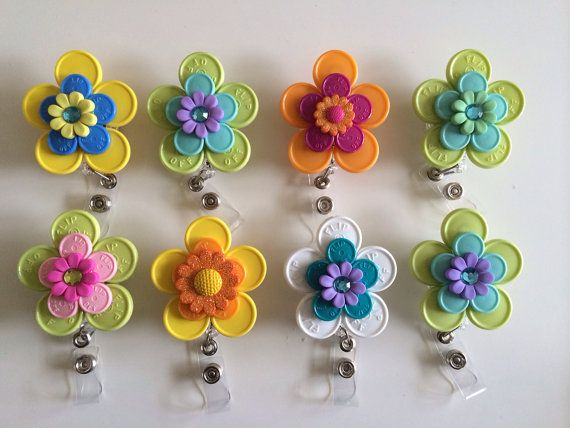 Registered Nurse & HCP ID BADGE Holder - (made from colorful medication vial caps) on Etsy, $6.00