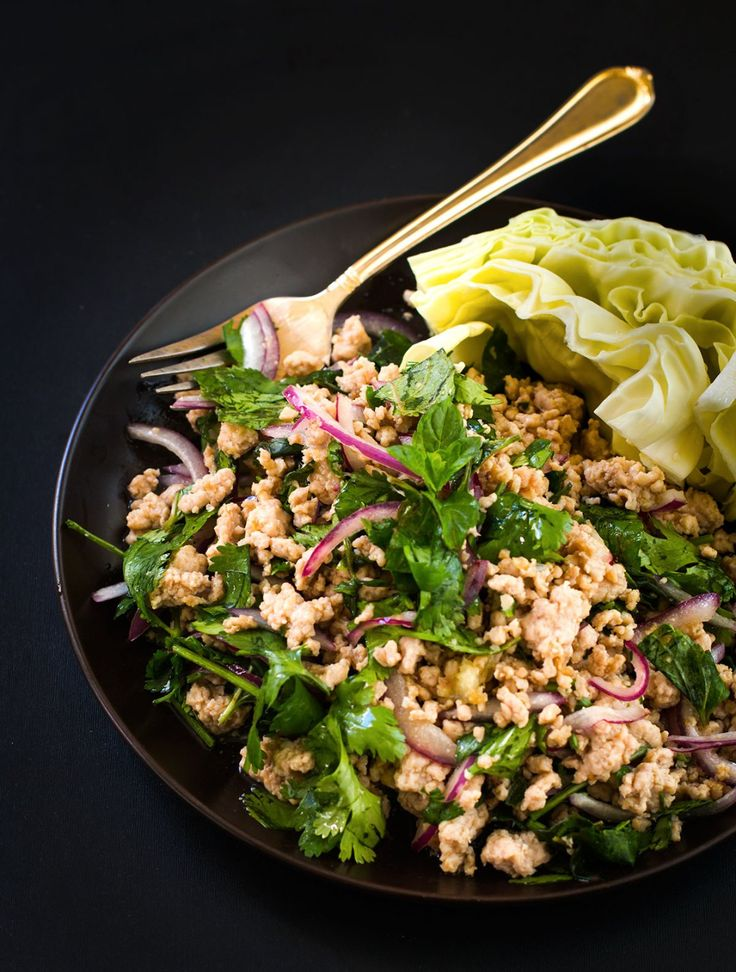 easy-larb-recipe-with-chicken-THIS IS MY NEW FAVORITE. Easy, tasty and healthy (minus that pesky sodium). I was craving this thai appetizer last week and decided i would just make it for dinner. This have many levels of flavor and texture.