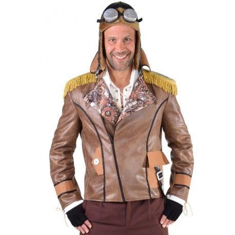 Déguisement blouson aviateur Steampunk homme luxe