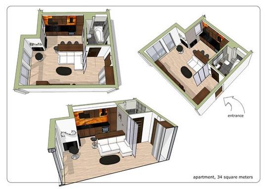 интерьер квартиры,Michel Design Studio,RAI Przedsiebiorstwo Budowlane,декорирование маленькой квартиры,квартира-студия