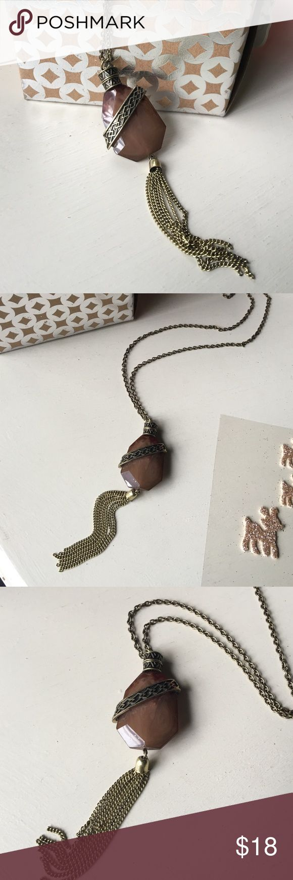 🌰🍂🆕Bronzed Gem Tassel Necklace Newly listed! 🌰🍂🆕Bronzed Gem Tassel Necklace🍂Long Antiqued Bronzed chain🍂Milky brown glass gem Pendant🍂🌰 Jewelry Necklaces
