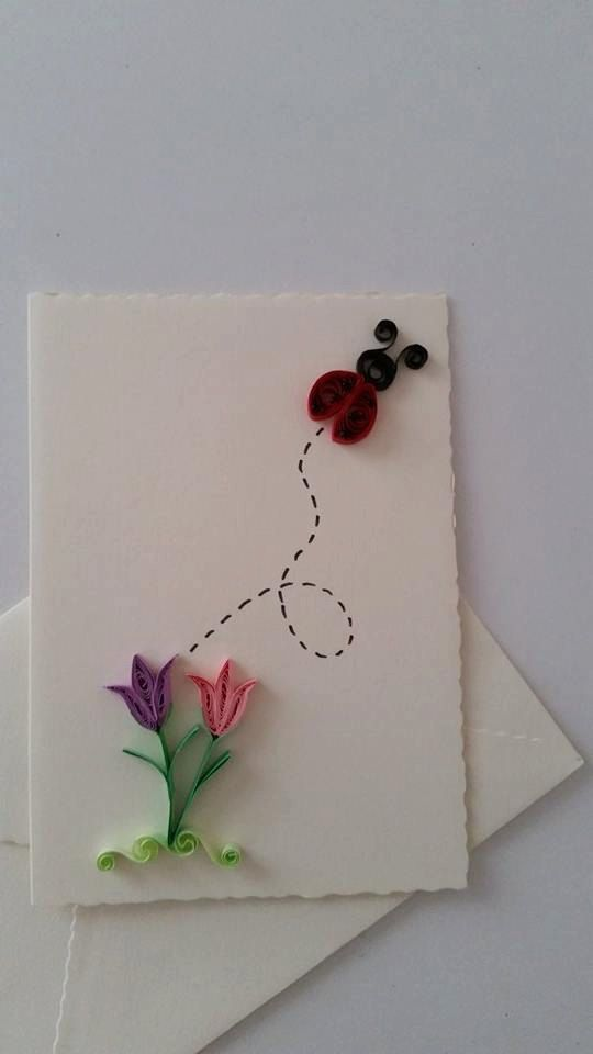 Quilled Card, Quilling Card, Quilled Flower, Quilled Gift, Greeting Card, Paper Card, Spring Card, Birthday Card, Easter Card, Shamrock Card