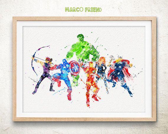 Avengers Superhelden Marvel - Aquarell Kunstdruck, Zimmer Einrichtung, Plakat, Home Baby Nursery Wandkunst