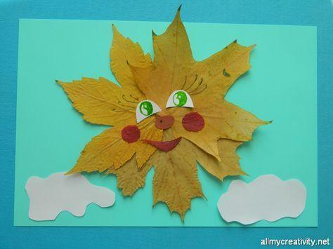 Солнце из осенних листьев