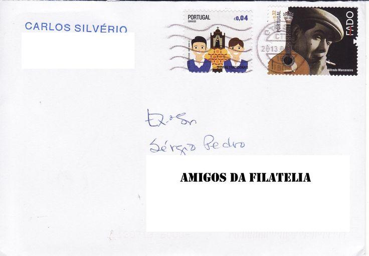 Sobrescrito circulado em correio normal com selo da série Fado colocado em circulação a 03 de Outubro de 2011. Para completar a taxa foi adicionado um selo 0,04€ da série Festas portuguesas colocado em circulação a 30 de Abril de 2013