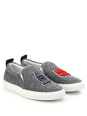 Joshua Sanders London Cities Felt Slip-On Sneakers