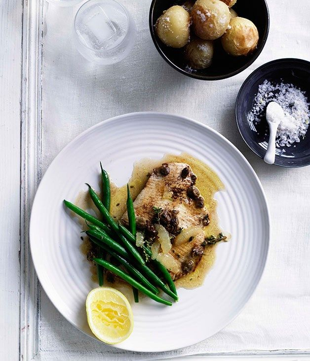 Skate Wings with Lemon Caper Browned Butter Sauce
