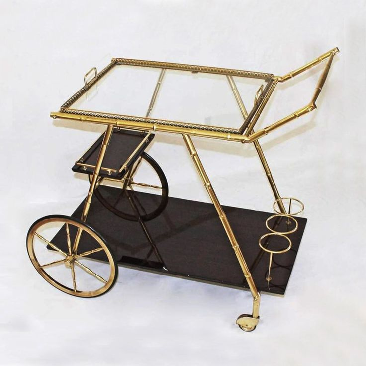 Italian Three Tier Faux Bamboo Cart in Brass 1950s